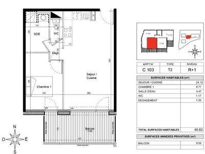 Appartement, 40,82 m²