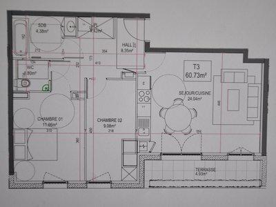Appartement, 60,73 m²
